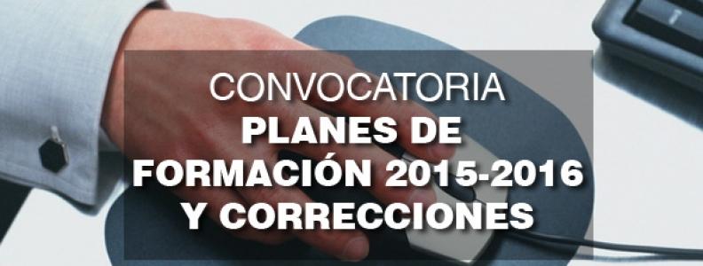 Convocatoria Planes de Formación 2015-2016 y Corrección errores